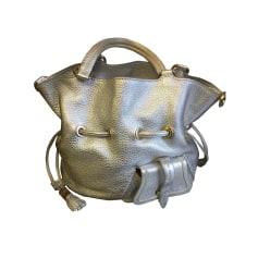 Lederhandtasche LANCEL Silberfarben, stahlfarben