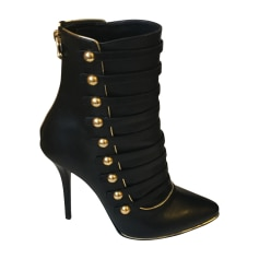 High Heel Ankle Boots BALMAIN Black