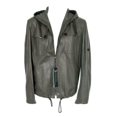Leather Zipped Jacket PRINGLE OF SCOTLAND Gray, charcoal