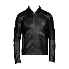 Leather Zipped Jacket EMPORIO ARMANI Black