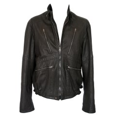 Leather Zipped Jacket NICOLE FAHRI Black