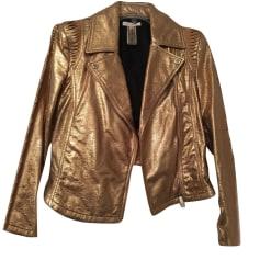 Leather Zipped Jacket FAITH CONNEXION Golden, bronze, copper