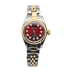 Armbanduhr ROLEX OYSTER PERPETUAL Rot, bordeauxrot