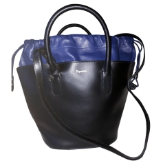 Leather Shoulder Bag REPETTO Noir et marine.