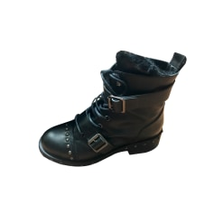 Bottines & low boots motards ZARA Noir