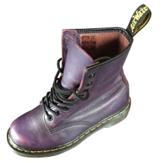Bottines & low boots plates DR. MARTENS Violet patiné graissé