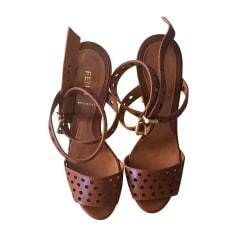Sandales compensées FENDI Marron