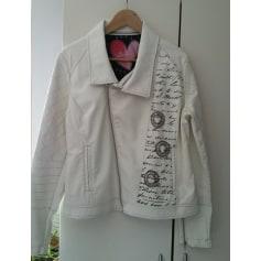 amp; Blanc Vestes Blanc Cuir Écru Manteaux De Cassé Femme Simili qA6xqCd