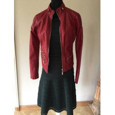 Veste simili cuir rouge bordeaux femme