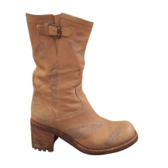 Bottines & low boots motards FREE LANCE Beige, camel
