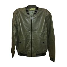 Leather Zipped Jacket VERSACE Green