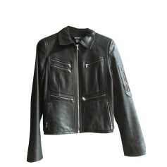 Leather Zipped Jacket DKNY Black