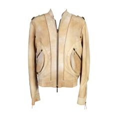 Leather Zipped Jacket ROBERTO CAVALLI Beige, camel