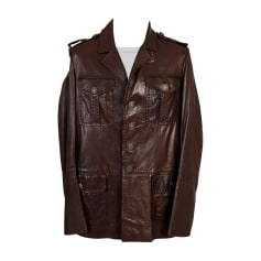 Leather Jacket ROBERTO CAVALLI Brown