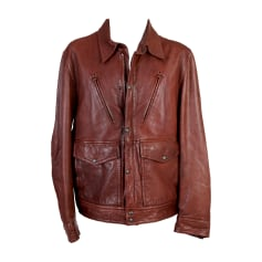Leather Zipped Jacket HUGO BOSS Brown