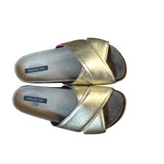 Flat Sandals PATRIZIA PEPE Golden, bronze, copper