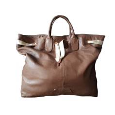 Leather Handbag REPETTO Beige, camel