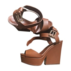 Sandales compensées SERGIO ROSSI Beige, camel