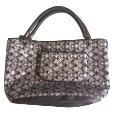 Leather Handbag LANCEL French Flair Silver
