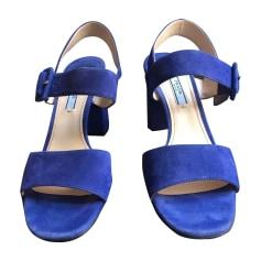 Heeled Sandals PRADA Blue, navy, turquoise