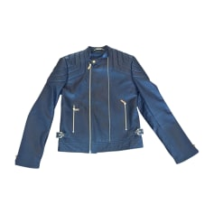 Leather Zipped Jacket VERSACE Black