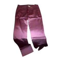 Pantalon droit VERSACE Rose, fuschia, vieux rose
