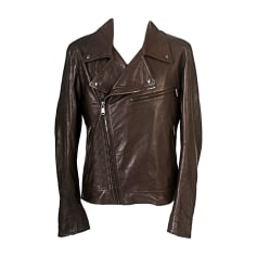Leather Zipped Jacket YVES SAINT LAURENT Brown