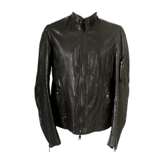 Leather Zipped Jacket BURBERRY Black