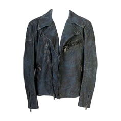 Leather Zipped Jacket RALPH LAUREN Blue, navy, turquoise