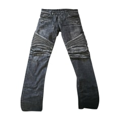 Jeans droit BALMAIN Gris, anthracite
