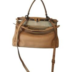 Leather Shoulder Bag FENDI Beige, camel
