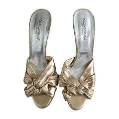Sandales à talons DOLCE & GABBANA Doré, bronze, cuivre