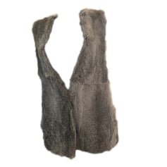 Fur Sleeveless Vest IRO Gray, charcoal