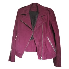 Leather Zipped Jacket COMPTOIR DES COTONNIERS Pink, fuchsia, light pink