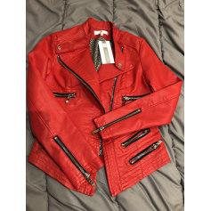 Veste simili cuir femme rouge bordeaux