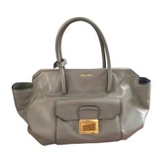 Leather Handbag MIU MIU Gray, charcoal
