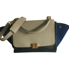 Leather Handbag CÉLINE Blue, grey, black