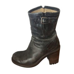 Biker Ankle Boots FREE LANCE Gray, charcoal