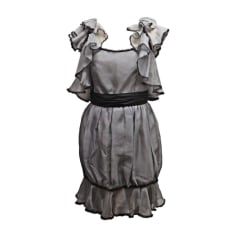 Robe mi-longue CHANEL Gris, anthracite