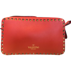 Leather Shoulder Bag VALENTINO Rockstud Red, burgundy