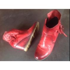 Bottines & low boots à compensés MJUS Rouge, reflet marron