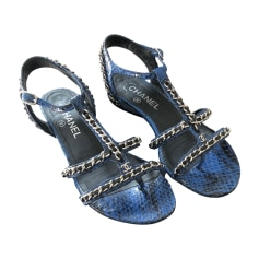 Flat Sandals CHANEL Blue, navy, turquoise