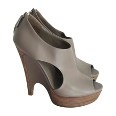 Wedge Ankle Boots GUCCI Gray, charcoal