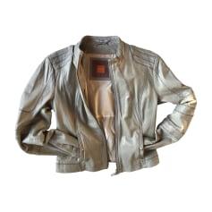 Leather Zipped Jacket HUGO BOSS Gray, charcoal