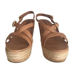 Sandales compensées PRADA Beige, camel