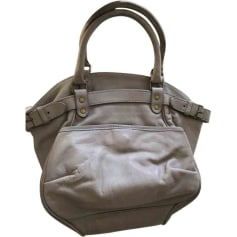 Leather Handbag VANESSA BRUNO Gray, charcoal