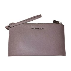 Leather Clutch MICHAEL KORS Gray, charcoal