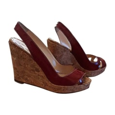 Wedge Sandals CHRISTIAN LOUBOUTIN Red, burgundy