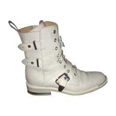 Bottines & low boots motards BARBARA BUI Blanc, blanc cassé, écru