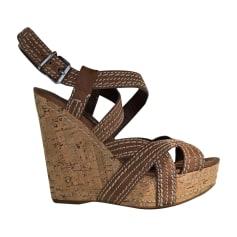 Sandales compensées MIU MIU Beige, camel